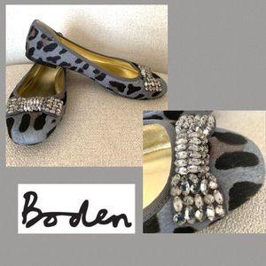 Boden Animal Print Calf Hair Flats Jeweled Bow 36